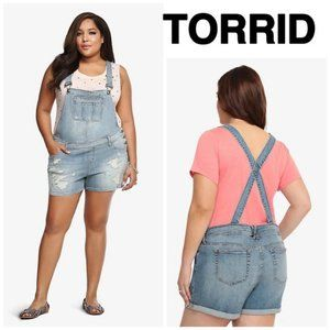 Torrid Distressed Overall Shorts